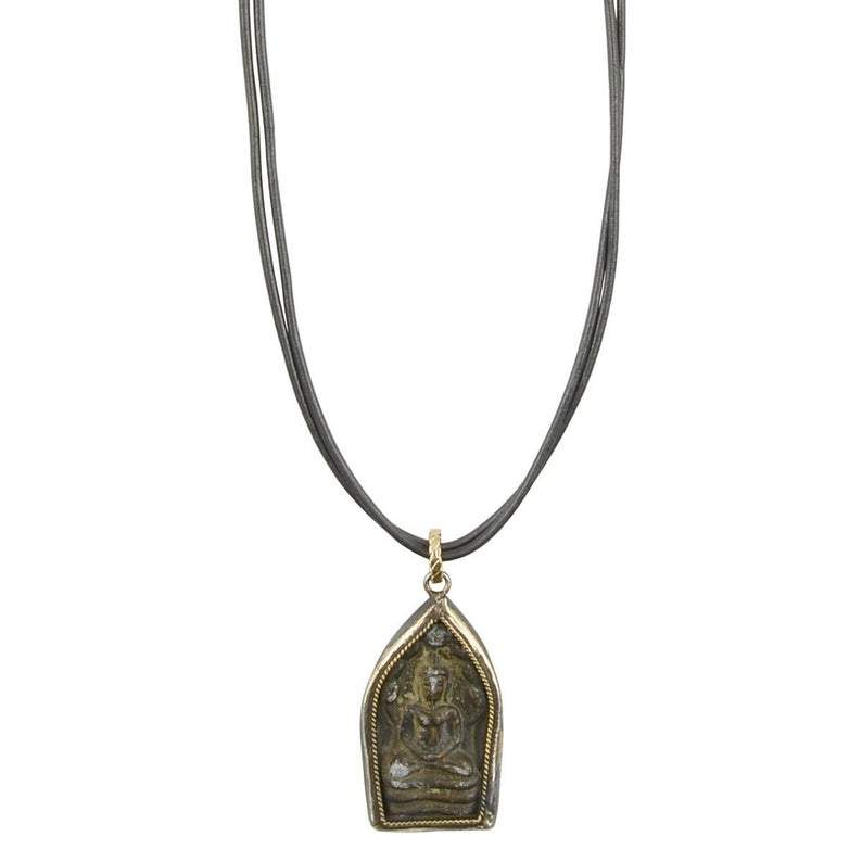Finished Jewelry-Modern Jewelry-Buddha Amulet Leather Necklace-Blackened Patina