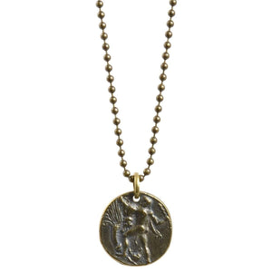 Finished Jewelry-Simple-Antique Bronze Greek Coin Ball Chain Necklace