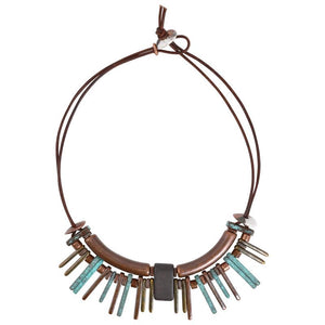 Fire Metals Leather Necklace