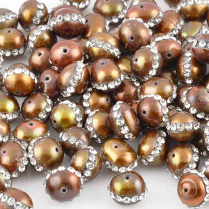Freshwater Pearl-6mm Round With +Crystals-Brown