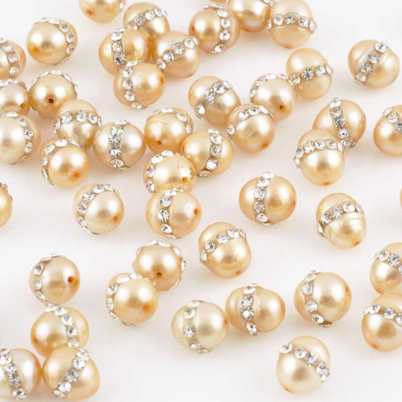 Freshwater Pearls-6mm Oval With Crystals-Gold
