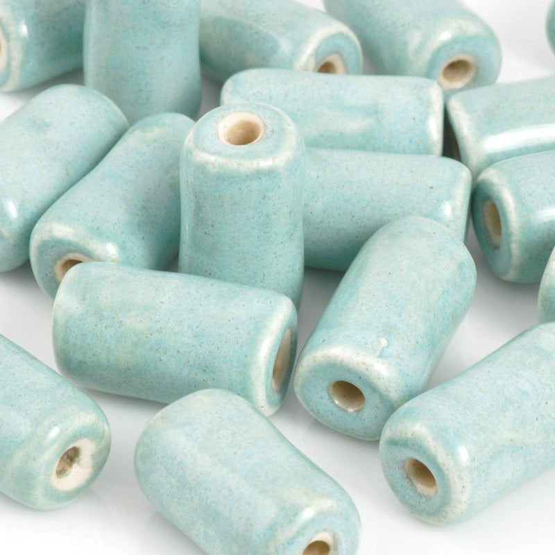 Gaea Ceramic Beads-12x20mm Chunky Barrel-Out of The Blue-Quantity 1