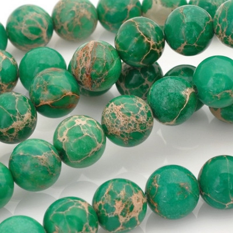 Gemstone-10mm Impression Jasper-Round-Green-16 Inch Strand