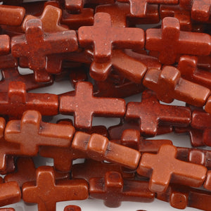 Gemstone-11x16mm Howlite Cross-Terra Cotta-16 Inch Strand
