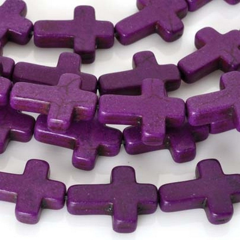 Gemstone-11x16mm Howlite Cross-Violet-16 Inch Strand