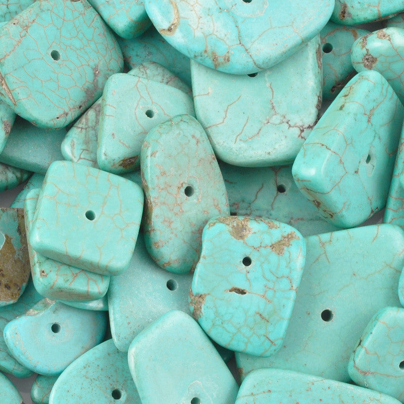 Gemstone-6-24mm Freeform Howlite-Flat Abstract-Turquoise