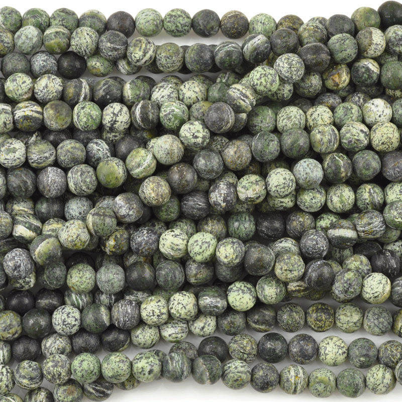 Gemstone-8mm Round-Frosted Green Zebra Jasper