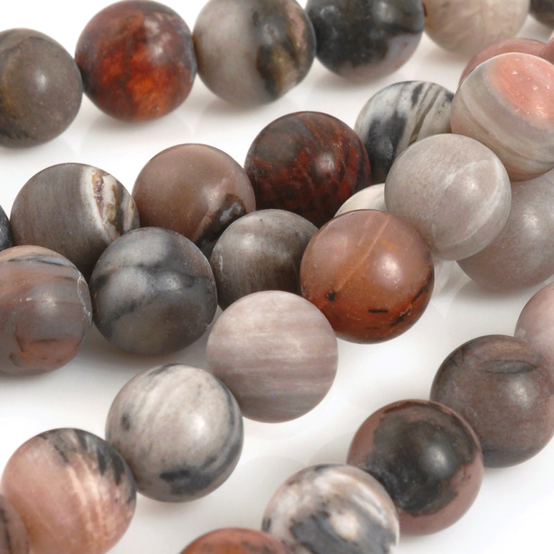 Gemstone-8mm Round-Petrified Wood-Matte-15.5 Inch Strand-Quantity 1