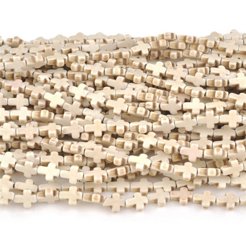 Gemstone-8x10mm Cross-xsmall-Howlite-Off White-16 Inch Strand