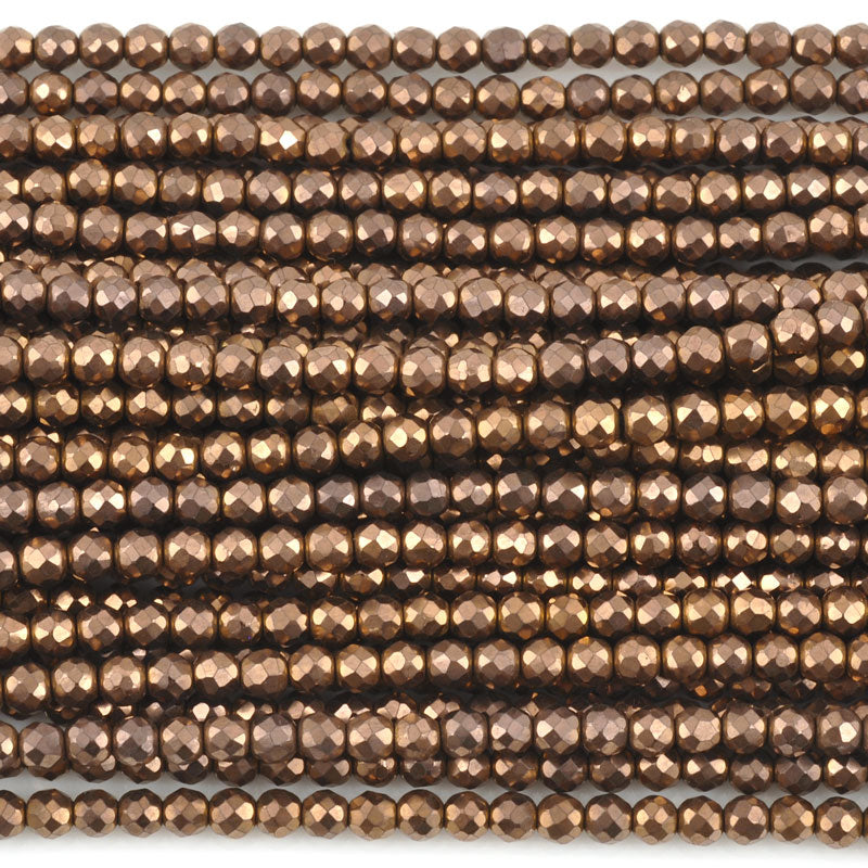 Gemstone Beads-3mm Titanium Hematite-Round Faceted-Bronze