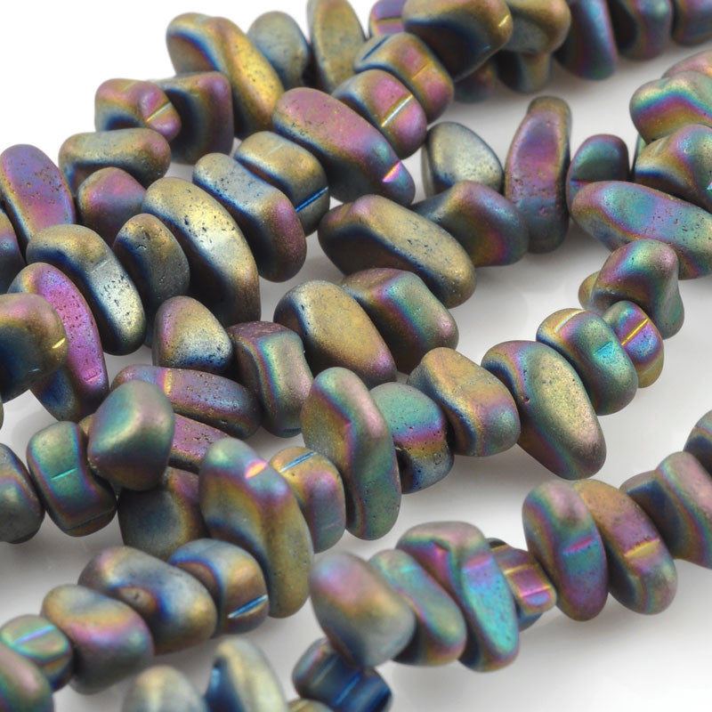 Gemstone Beads-3x5-10mm Titanium Hematite Chip-Matte Silver AB