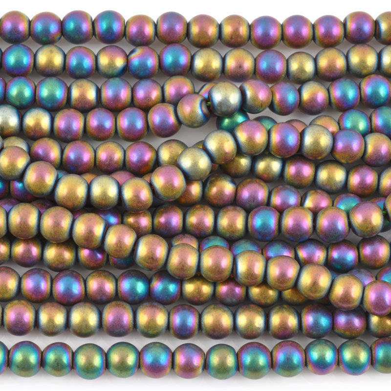 Gemstone Beads-6mm Titanium Hematite-Matte AB