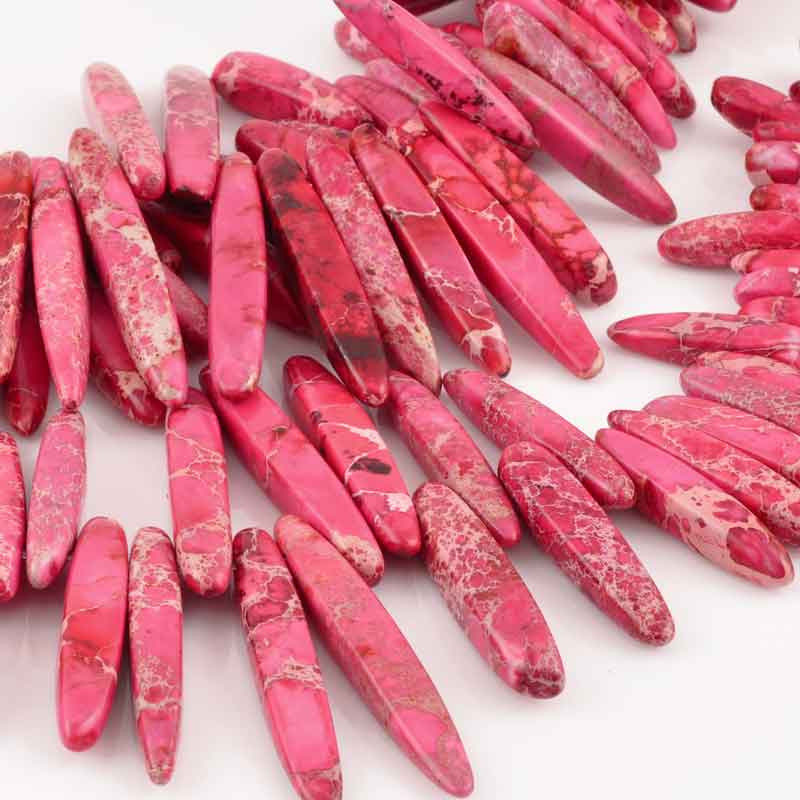 Gemstone Beads-7x20-50mm Graduated Daggers-Pink