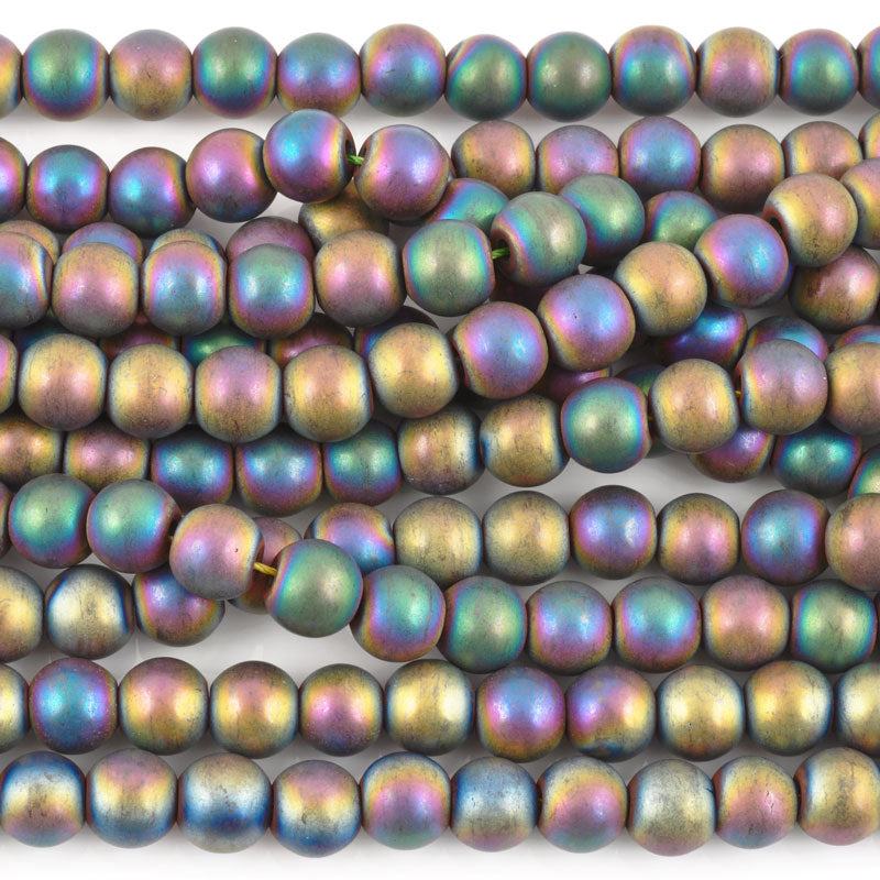 Gemstone Beads-8mm Titanium Hematite-Matte AB
