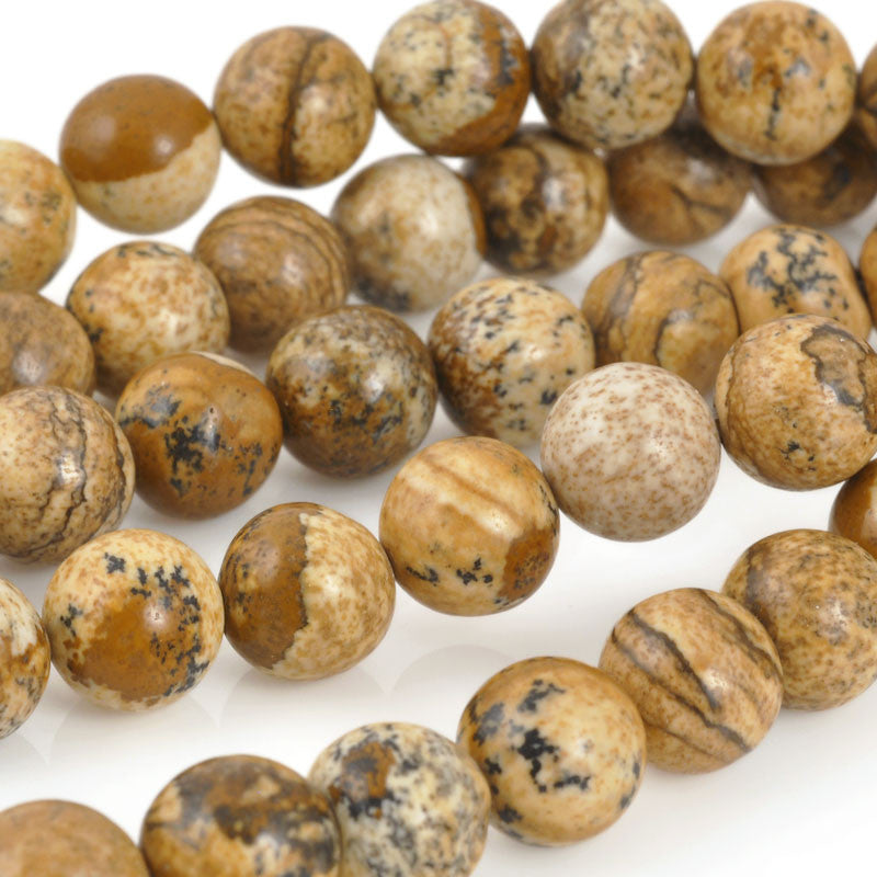 Gemstone Beads-Round Picture Jasper