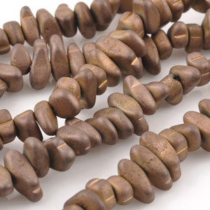 Gemstone Beads-3x5-10mm Titanium Hematite Chip-Matte Bronze
