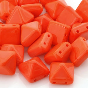 Glass-12mm Pyramid-Orange-Czech-Quantity 12