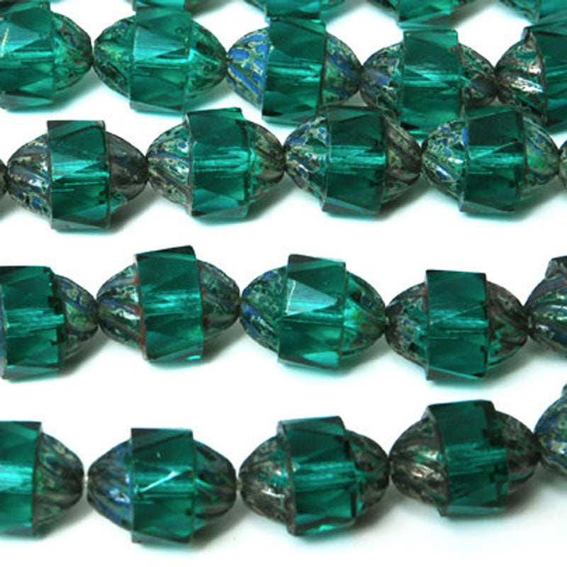 Glass-12x9mm Antique Style Faceted-Emerald Picasso-Czech