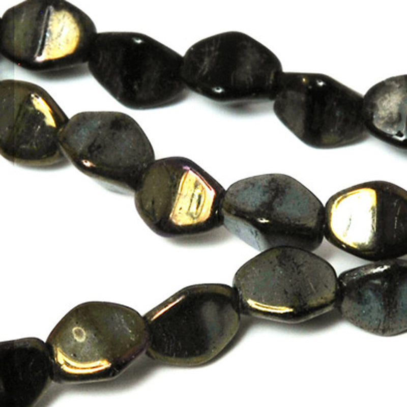 Glass-3mm Pinch Bead-Jet Bronze Picasso-Czech
