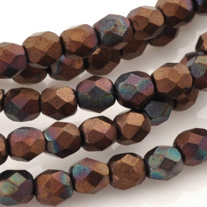 Glass Beads-4mm Fire Polish-Jet Matte Bronze Vega-Czech-Quantity 50