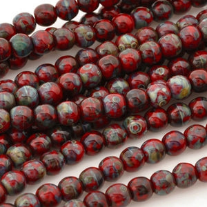 Glass-4mm Round-Opaque Red Picasso-Czech-15 Inch Strand