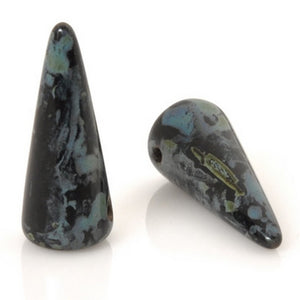 Glass-5x13mm Spike-Jet Picasso-Czech-Quantity 25