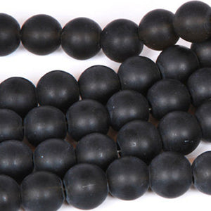 Glass-5x8mm Matte Black Rondelle Bead-Sea Glass