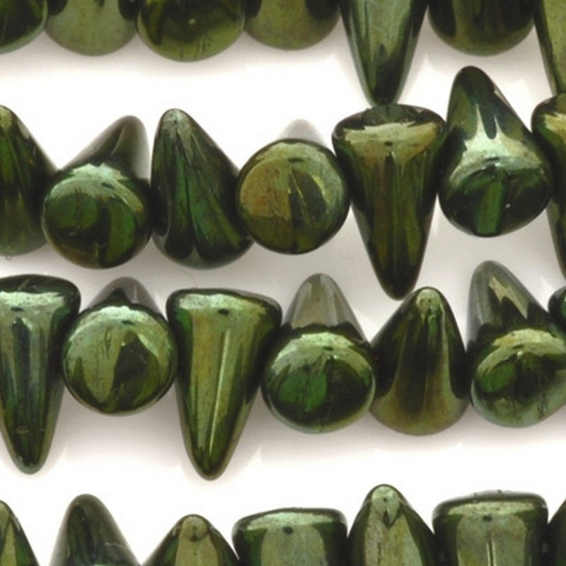 Glass-5x8mm Mini Spike-Jet Green-Czech-Quantity 25