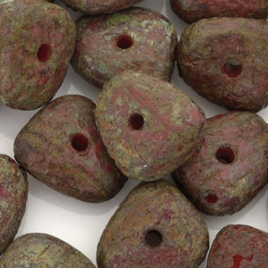 Glass-5x9mm Pebble Nugget-Dark Op Red Stone Picasso-Czech-Quantity 25