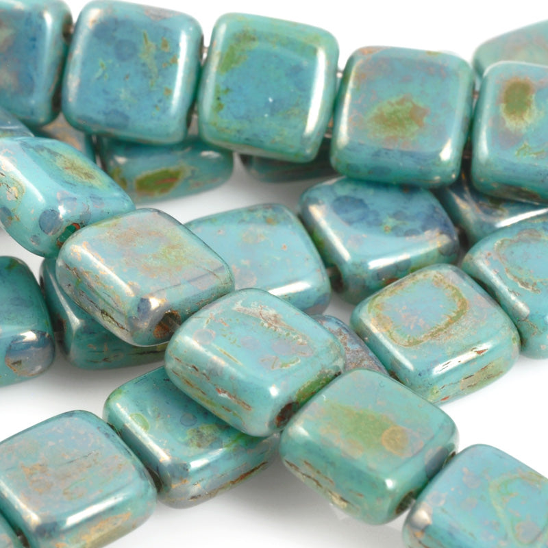 Glass-6mm CzechMates Tile Bead-Bronze Picasso Turquoise-Czech-Quantity 1