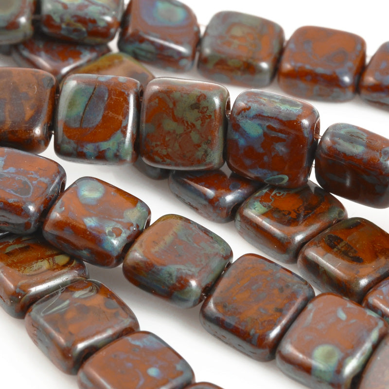 Glass-6mm CzechMates Tile Bead-Picasso Umber-Czech-Quantity 1