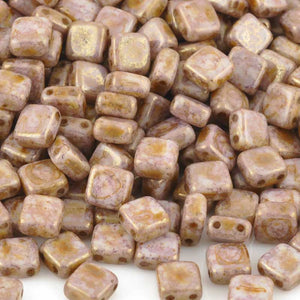 Glass-6mm Flat Square Bead-2-Hole-Alabaster Lila Gold Luster-Czech