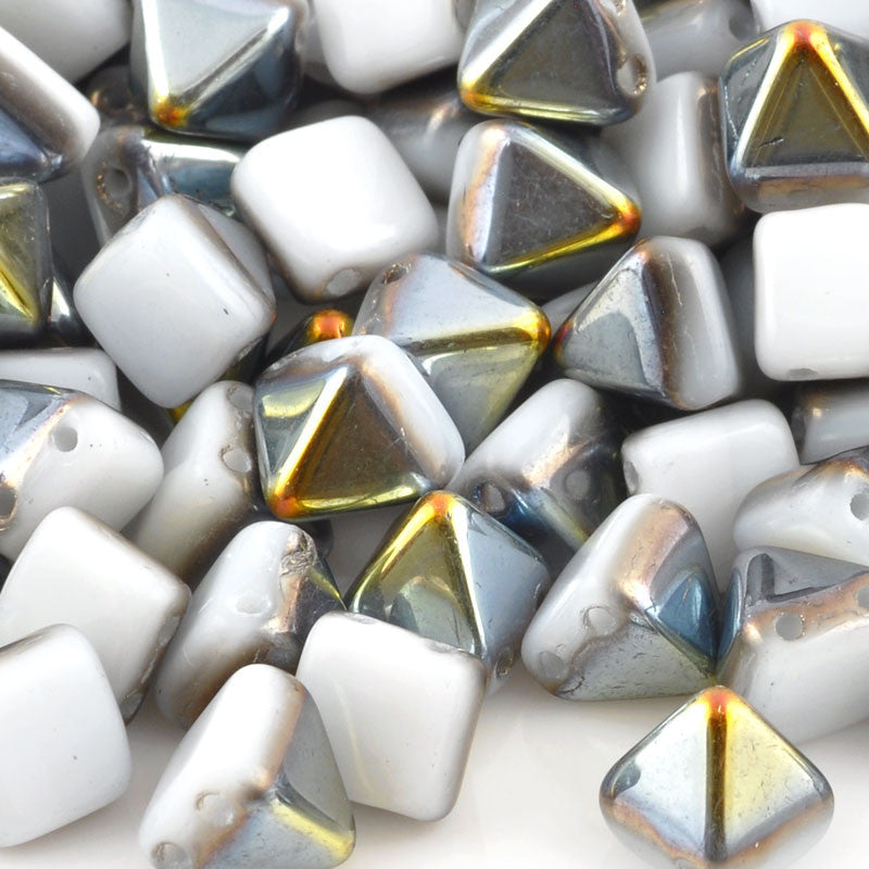 Glass-6mm Pyramid Bead-Alabaster Marea-Czech-Quantity 25
