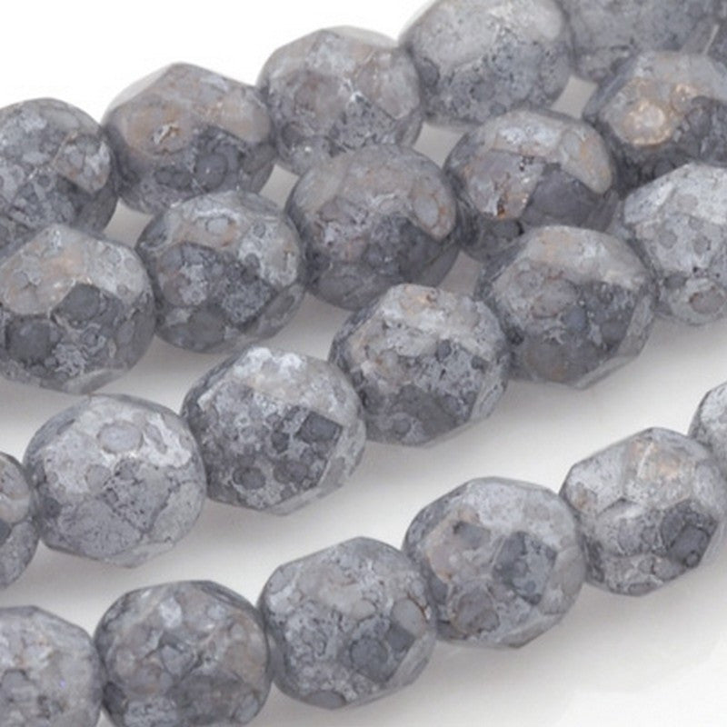 Glass-6mm Round Bead-Luster Stone Grey-Czech