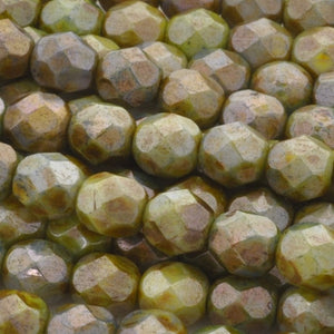 Glass-6mm Round Bead-Opaque Luster Green-Czech