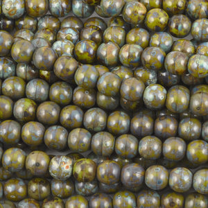 Glass-6mm Round-Opaque Olive Picasso-Czech