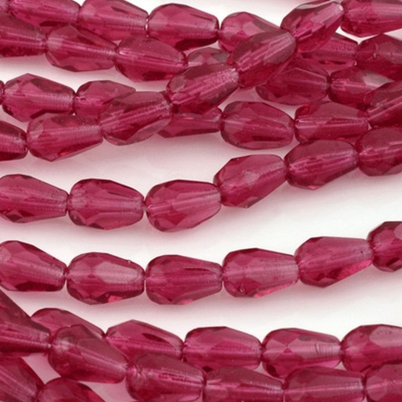 Glass-7x5mm Teardrop Bead-Fuchsia-Czech