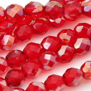 Glass-8mm Round Bead-Celsian Siam Ruby-Czech-Quantity 25