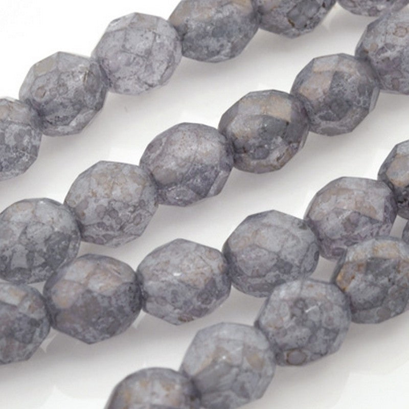 Glass-8mm Round Bead-Luster Stone Grey-Czech