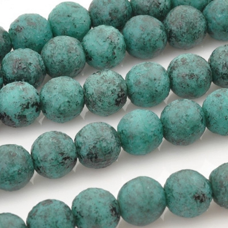 Glass-8mm Round-Black Stone Picasso-Turquoise-Czech-Quantity 25