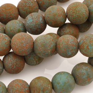Glass-8mm Round-Turquoise Stone Picasso-Czech