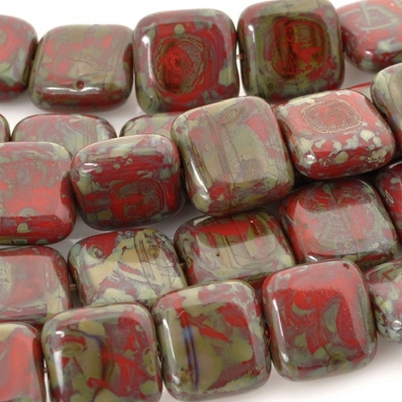 Glass-9mm Flat Square Bead-Opaque Red Picasso-Czech
