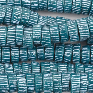 Glass Beads-14mm Powdered Rondelle Recycled-Ghana
