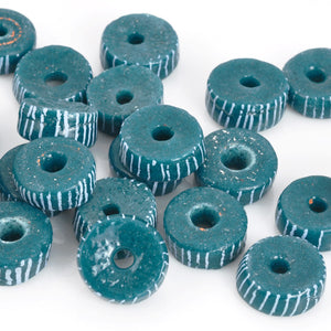 Glass Beads-14mm Powdered Rondelle Recycled-Ghana-Teal Stripe