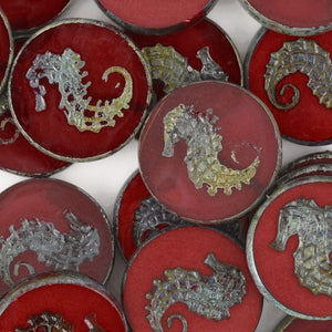 Glass Beads-23mm Seahorse-Shine Picasso-Czech
