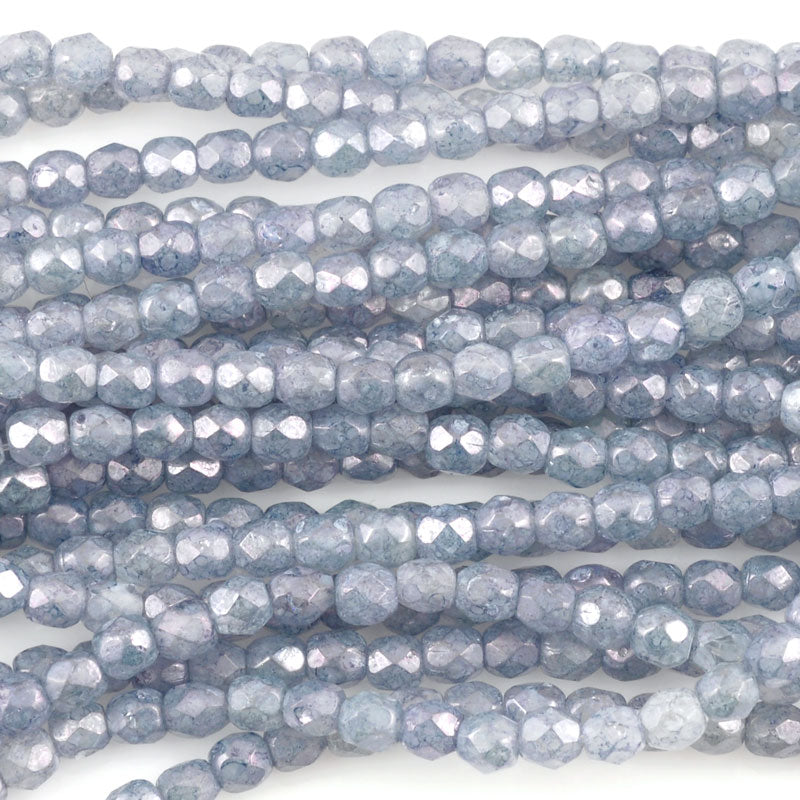 Glass Beads-3mm Fire Polish-Luster Stone Blue-Czech-Quantity 1 Strand