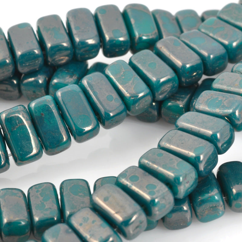 Glass Beads-3x6mm CzechMates Brick-Persian Turquoise Moon Dust-Czech-Quantity 1