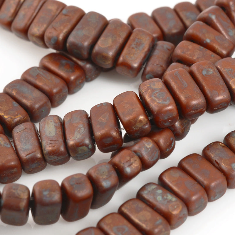 Glass Beads-3x6mm CzechMates Brick-Umber Copper Picasso-Czech-Quantity 1