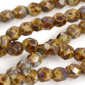 Glass Beads-4mm Fire Polish-Opaque Beige Picasso-Czech-Quantity 1 Strand