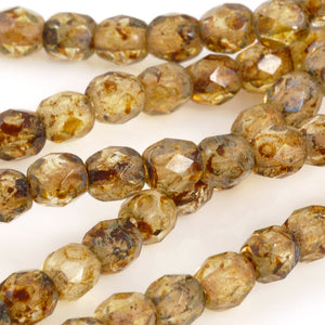 Glass Beads-4mm Fire Polish-Transparent Picasso-Czech-Quantity 1 Strand